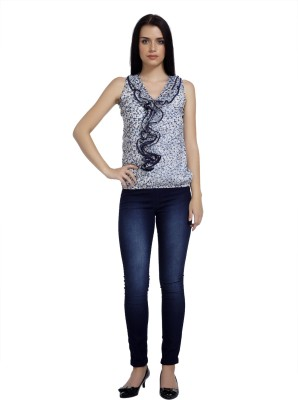 Mineral Casual Sleeveless Polka Print Women's Blue Top