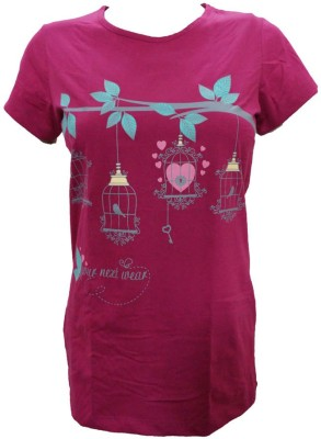 Indiatrendzs Casual Cap sleeve Printed Women's Pink Top