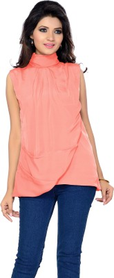 IshinDesignerStudio Party Sleeveless Solid Women's Orange Top