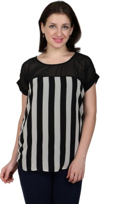 Lmode Casual, Party Short Sleeve Striped Women's Black, White Top
