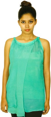Aggana Casual Sleeveless Solid Women's Green Top