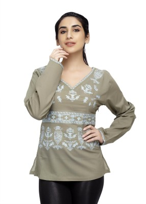 Cappadocia Casual Full Sleeve Embroidered Women's Grey Top