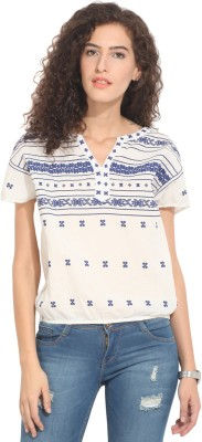 Hook & Eye Casual Short Sleeve Embroidered Women's White, Blue Top
