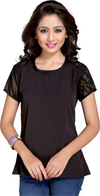 Niriksha Casual Short Sleeve Solid Women's Black Top