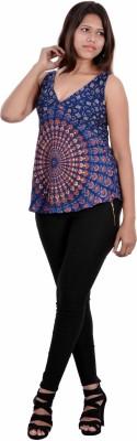 Indi Bargain Casual, Formal, Beach Wear, Sports, Festive Sleeveless Floral Print Women's Dark Blue Top