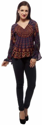 Indi Bargain Party, Formal Full Sleeve Floral Print Women's Purple Top