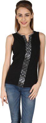 Aussehen Casual Sleeveless Solid Women's Black Top