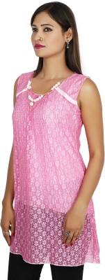 Sringar Casual Sleeveless Printed Women's Pink Top