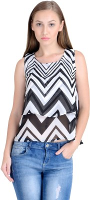Raabta Fashion Casual Sleeveless Graphic Print Women's Black, White Top