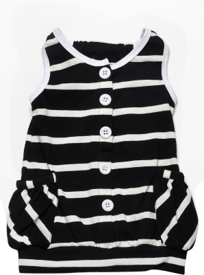 Little Kangaroo Casual Sleeveless Striped Girl's Black Top