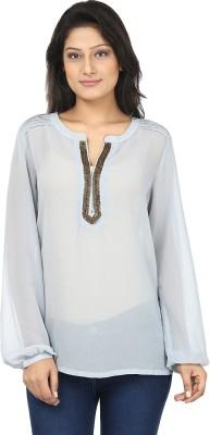 Clo Clu Casual Full Sleeve Embellished Women,s Blue Top