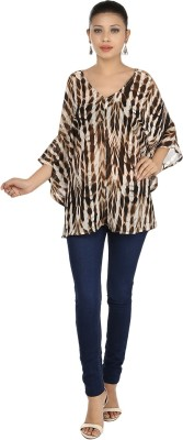Maggie Casual Short Sleeve Printed Women's Multicolor Top