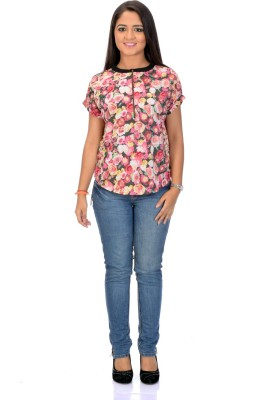 Instinct Casual, Festive Short Sleeve Floral Print Women,s Multicolor Top