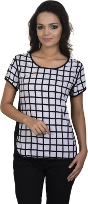 Antilia Femme Casual Short Sleeve Checkered Women's White Top