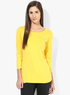 Tshirt Company Casual 3/4 Sleeve Solid Women's Yellow Top