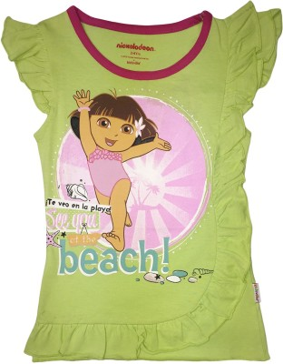 Dora Casual Short Sleeve Printed Girl's Yellow Top