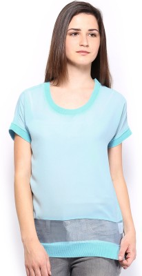 HRX by Hrithik Roshan Casual Short Sleeve Solid Women's Blue Top at flipkart