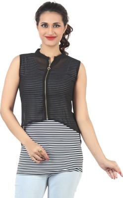 FamGlam Casual Sleeveless Self Design Women's Black Top