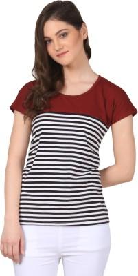 FashionExpo Casual Short Sleeve Striped Women's Maroon Top