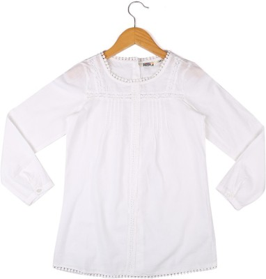 People Casual 3/4 Sleeve Solid Girl's White Top
