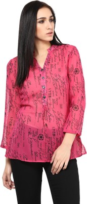 Shwetna Casual 3/4 Sleeve Printed Women's Pink Top