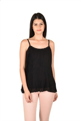 French Creations Casual Sleeveless Solid Women's Black Top