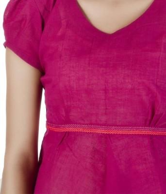 HastaVarna Studio Casual, Party, Festive Puff Sleeve Self Design Women's Pink Top