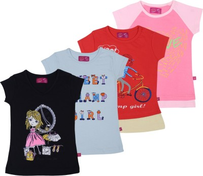 Spn Garments Casual Short Sleeve Graphic Print Girl,s Black, Blue, Red, Pink Top
