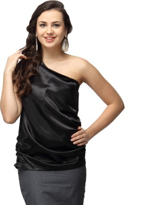 Vodka Fashion India Casual, Party, Lounge Wear Sleeveless Solid Women's Black Top