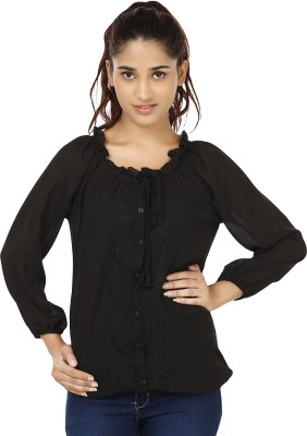 India Inc Casual Full Sleeve Solid Women's Black Top