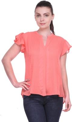 Kami Casual Short Sleeve Solid Women's Orange Top