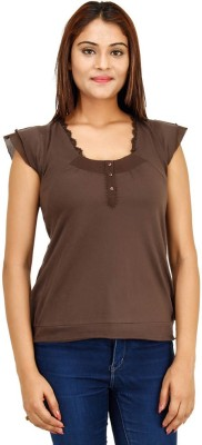 Opiumstreet Casual Short Sleeve Self Design Women's Brown Top