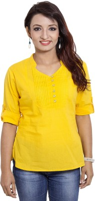 CURLLIE Casual 3/4 Sleeve Solid Women's Yellow Top