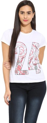 Why Knot Casual Short Sleeve Printed Women's White Top