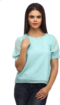 Suhi Party Short Sleeve Checkered Women's Blue Top