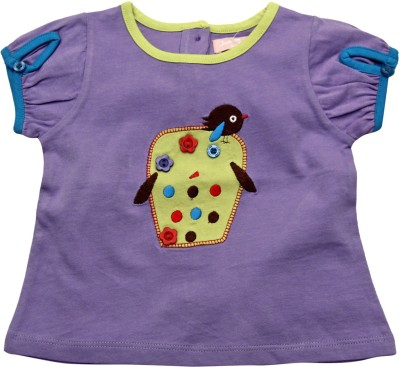 Jus Cubs Casual Puff Sleeve Embroidered Baby Girl's Blue Top
