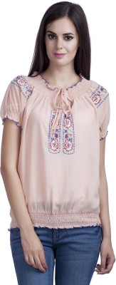 MansiCollections Casual Short Sleeve Embroidered Women's Multicolor Top