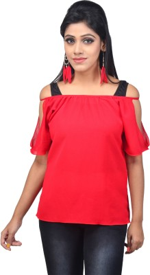 SSMITN Casual Sleeveless Solid Women's Red Top at flipkart
