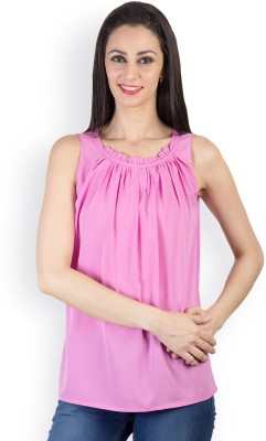 Tops and Tunics Casual Sleeveless Solid Women's Pink Top