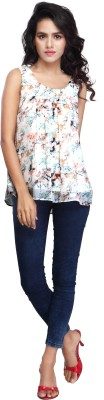 Multi Retail Casual Sleeveless Floral Print Women's Multicolor Top