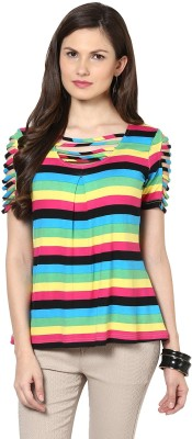 Glam & Luxe Casual Short Sleeve Striped Women's Multicolor Top