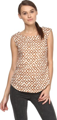 Annapoliss Casual Sleeveless Printed Women's Brown, Beige Top
