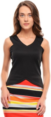 I Know Casual Sleeveless Solid Women,s Black Top