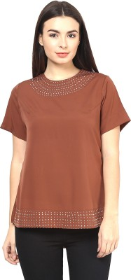 Martini Party Short Sleeve Solid Women's Brown Top