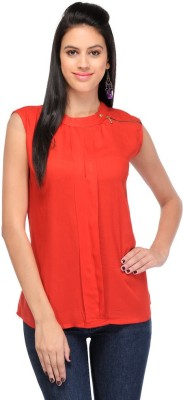 Visach Casual Sleeveless Solid Women's Red Top