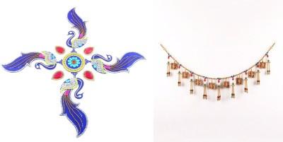 Itiha Peacock Rangoli Two sided Ganesha on Swastik Multicolour Toran Showpiece Toran(Acrylic, multicolour beads)