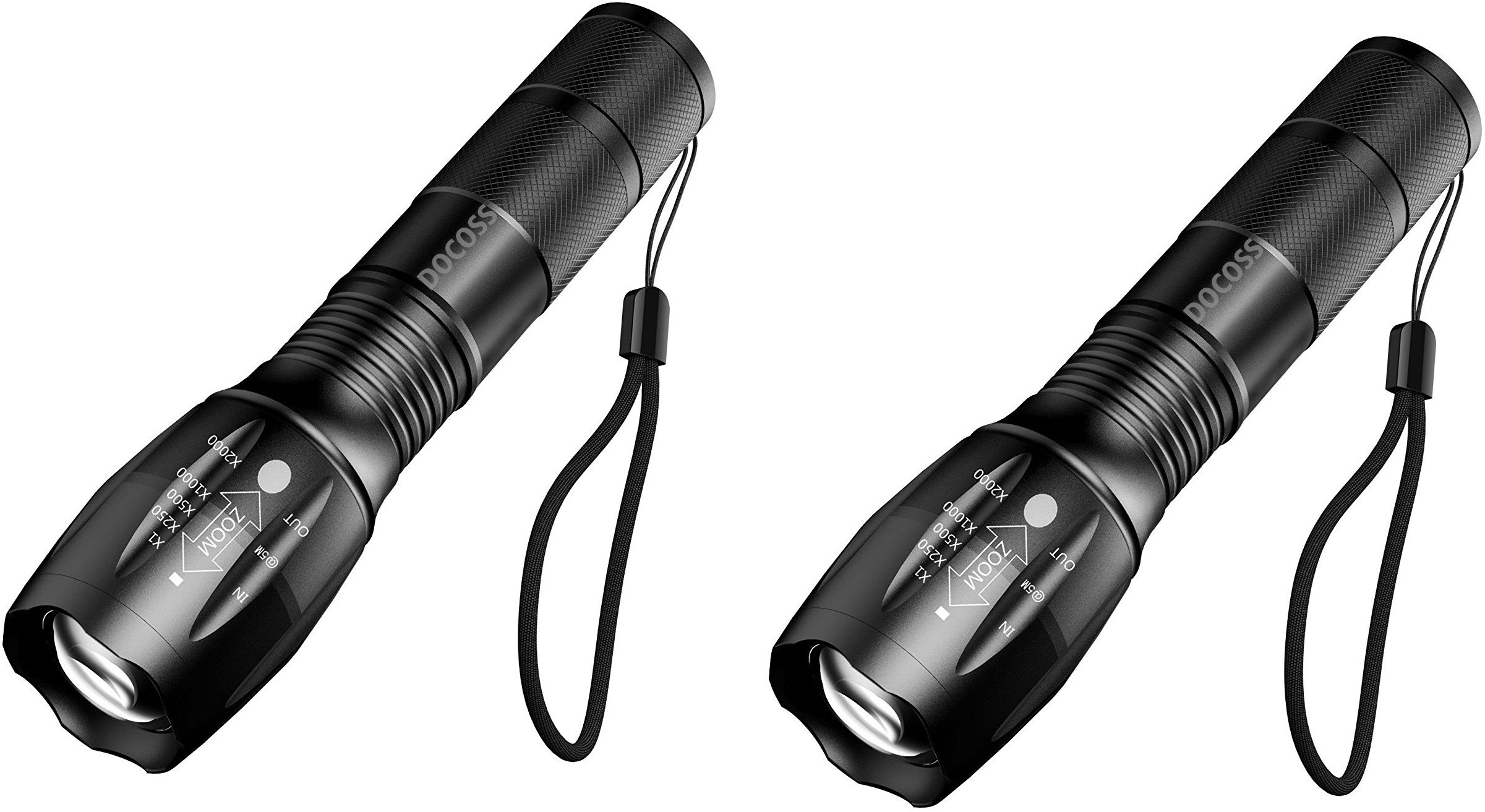 View DOCOSS 5 Modes Portable Bright Waterproof Zoomable Focus Flashlight Torch -A13 Emergency Lights(Black) Home Appliances Price Online(DOCOSS)