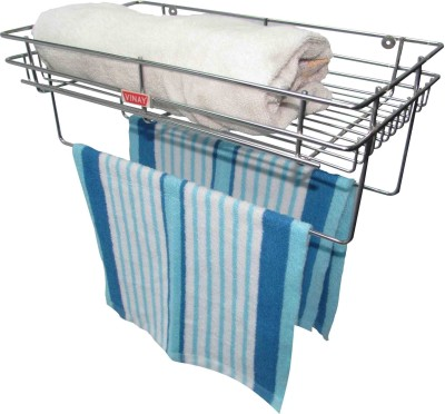 Vinay Towel holder with single tier storage Steel Towel Holder