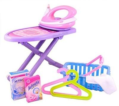 Dimple Ironing Set, Toy Iron, Ironing Board, Laundry Basket Toy Accessory