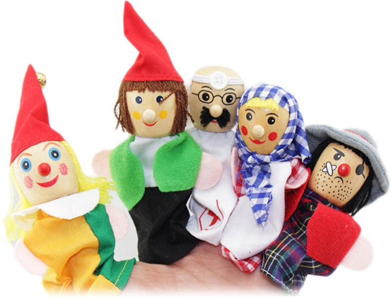 Kuhu Creations Career Professional's Finger Puppet Wooden Baby Education Story Play Toy Doll Finger Puppets(Pack of 6)